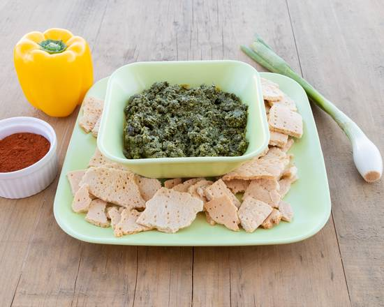 Spiced Spinach and cheese with crackers | Espinaca (gomen bayib)